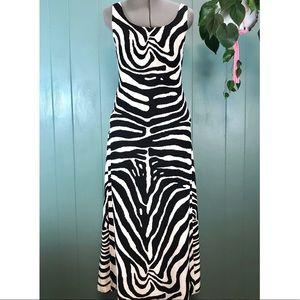 Escada 100% Silk Zebra Maxi Dress, Sleeveless